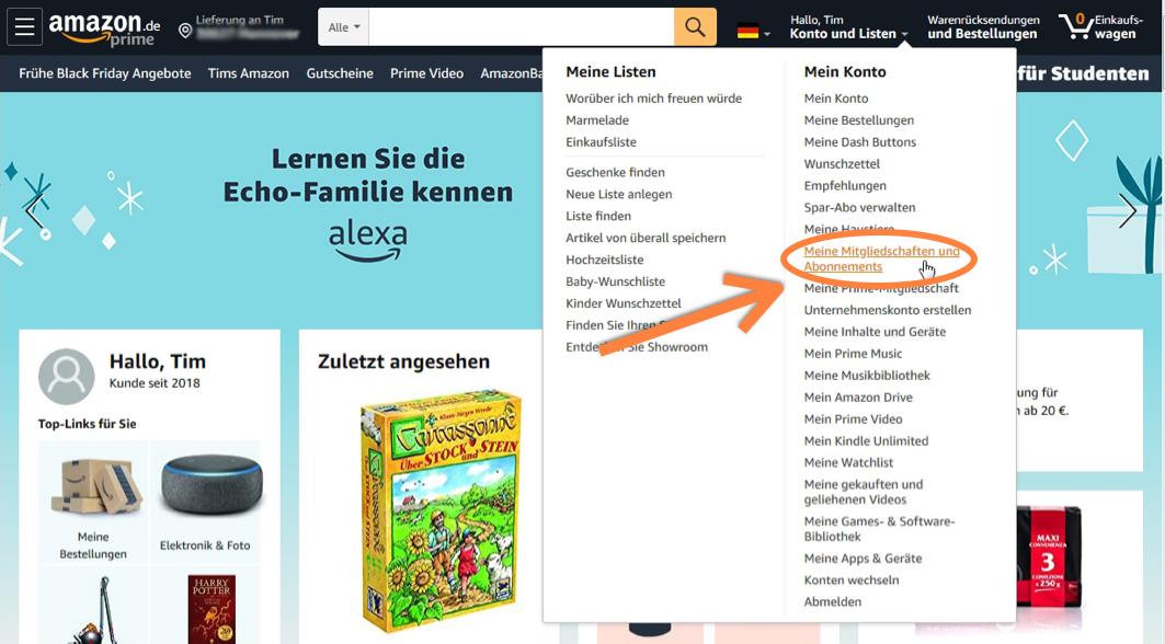 Amazon Abonnements verwalten