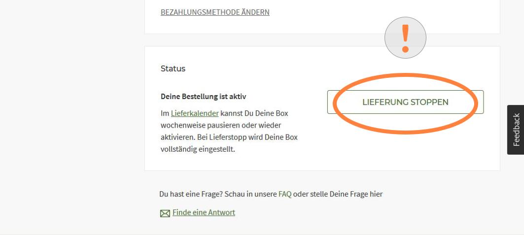 HelloFresh Abo Lieferungen stoppen