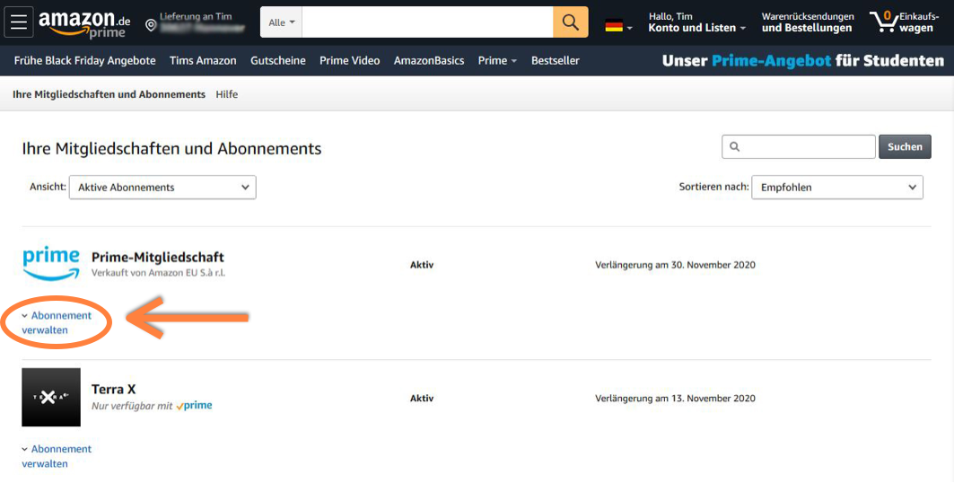 Amazon Prime Mitgliedschaft verwalten