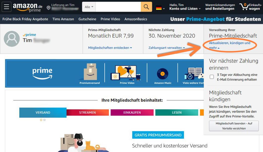 Amazon Prime Mitgliedschaft kündigen