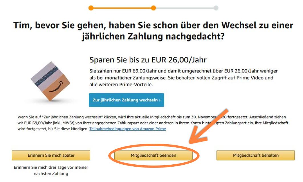 Amazon Prime Mitgliedschaft Kündigung bestätigen